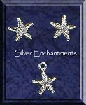 Sterling Silver Ocean Jewelry Set, Starfish Stud Earrings and Charm