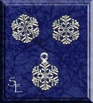 Sterling Silver Christmas Jewelry, Snowflake Stud Earrings and Charm