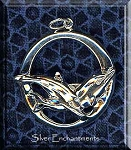 Sterling Silver Large Swimming Dolphins Pendant, 32x30mm