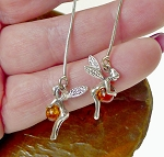 Sterling Silver and Baltic Amber Tinkerbell Fairy Earrings