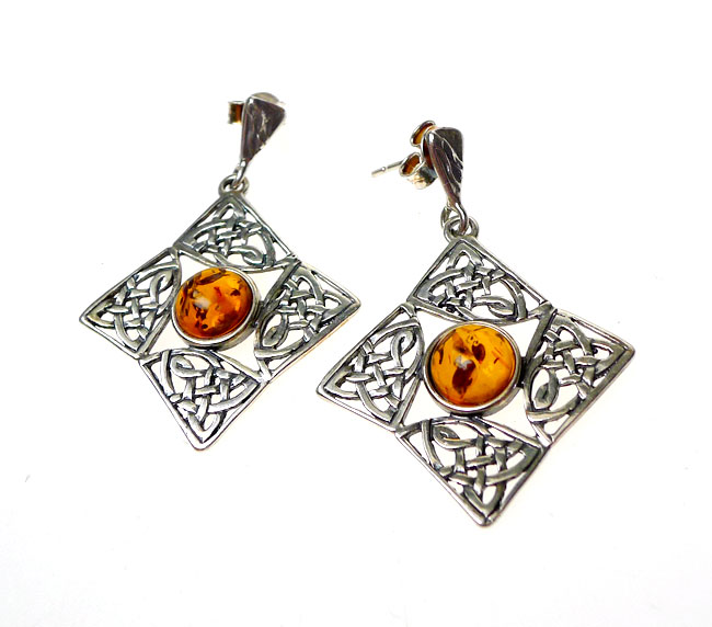 Genuine Amber Celtic Earrings, Sterling Silver and Baltic Amber Earrings