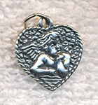 Sterling Silver Cherub in Heart Charm Jewelry