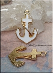 Gold-White Enameled Anchor Pendant