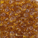 Super Duo Beads, Transparent TOPAZ 10 grams Czech SuperDuo 2-Hole Seed Beads