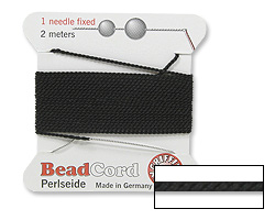 BLACK Griffin Silk Beading Cord with Needle, Size 6