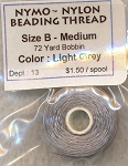 SOLDOUT - LIGHT GREY Nymo Thread, Size B Medium Nylon Beading Thread