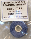 NAVY Nymo Thread, Size D Thick Nylon Beading Thread