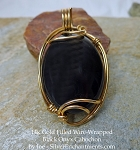 SOLD - Wire-Wrapped Black Onyx Pendant, 14k GF