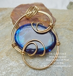 Wire-Wrapped Blue Mother of Pearl Shell Pendant 14K Gold Filled