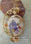 Wire-Wrapped Beaded Vintage Cameo Stardust Flowers Pendant, 14k GF