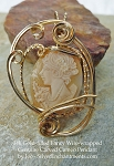 Wire-Wrapped Vintage Hand-carved Shell Cameo Pendant, 14k GF