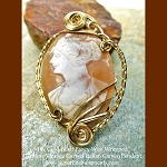Fancy Wire-Wrapped Vintage Hand-carved Italian Shell Cameo Pendant, 14k GF, OOAK