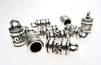 Scroll-Patterned Jewelry End Caps with 4.5mm Opening Bulk (10)