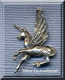 Sterling Silver Pegacorn Pendant, Pegasus-Unicorn Jewelry, 24x20mm