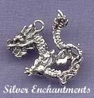 Sterling Silver 3D Oriental Dragon Charm