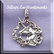Sterling Silver Unicorn Pendant, Bailed Fancy