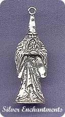 Sterling Silver 3D Traditional Merlin Wizard Pendant