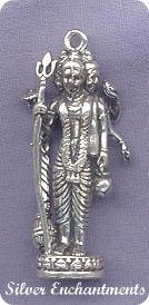 Sterling Silver 3D Hindu Trinity Pendant or Altar Statue, Trimurti
