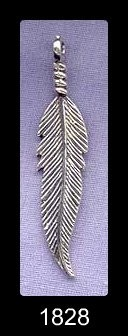 Sterling Silver Feather Pendant, 40mm Long Bailed Feather