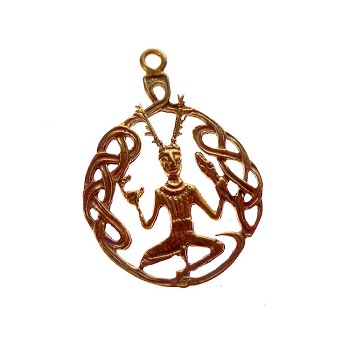 Solid COPPER Cernunnos Pendant, Celtic God Pendant