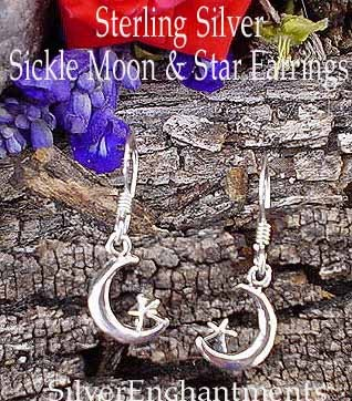 Sterling Silver Petite Moon and Star Earrings