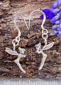 Sterling Silver Tinkerbell Earrings, Fairy Earrings