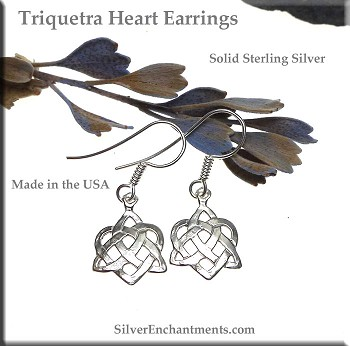 Sterling Silver Celtic Triquetra Heart Earrings