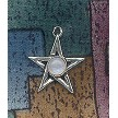 Sterling Silver Pentagram Charm with Gemstone