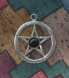 Sterling Silver Classic Pentacle Pendant with Gemstone - CUSTOM MADE