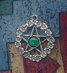 Sterling Silver Flower Pentacle Pendant with Gemstone