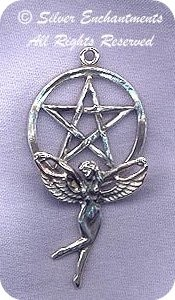 Sterling Silver Fairy Pentacle Pendant, 42x22mm