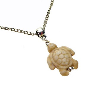 Sea Turtle Necklace Pendant, White Cream Sea Turtle Necklace
