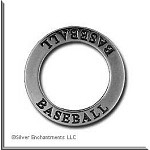 Sterling Silver BASEBALL Charm, Affirmation Ring Necklace