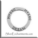 Sterling Silver DREAM Charm, Dream Affirmation Ring Necklace
