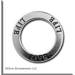 Sterling Silver LIFE Charm, Life Affirmation Ring Necklace