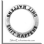 Sterling Silver SHIT HAPPENS Charm, Shit Happens Affirmation Ring Necklace