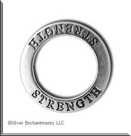 ZSOLDOUT / Sterling STRENGTH Affirmation Band, STRENGTH Message Ring, Sterling Silver STRENGTH Charms, STRENGTH Jewelry