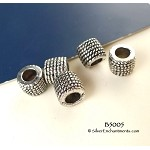Rope Coil Patterned Large Hole European Tube Spacer Beads (10)