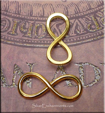 10 Bright Gold Pewter Infinity Jewelry Connectors Eternity Symbol 29x12mm