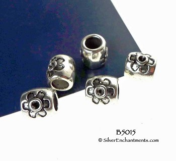 Large Hole Barrel Beads with Flower, Antique Silver European Big Hole Beads (10)