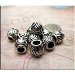 Whorl Swirling Pattern Large Hole Beads, Antique Silver (10)