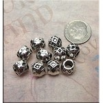 Diamond Pattern Large Hole Beads, Big Hole Spacers (10)