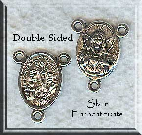 Silver Pewter Sacred Heart Rosary Parts Double-Sided 19x15mm 10 per bag