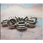 Silver Pewter Tire Rondelle Big Hole Beads 7x12mm 10 per bag