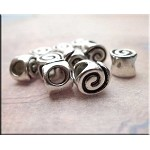 Spiral Large Hole Beads, Antique Silver (10)