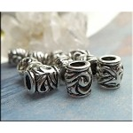 Scroll Swirl Large Hole Barrel Tube Beads, Antique Silver (10)