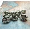10 Silver Pewter Fancy Ring Large Hole Spacer Beads 8mm Opening