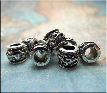 10 Silver Pewter Big Hole Beads with Tribal Motif