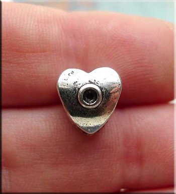 Silver Pewter Bullet Large Hole Heart Beads 10mm 10 per bag