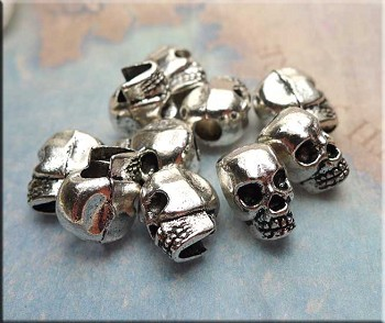 Skull Big Hole Beads, Antique Silver (10)